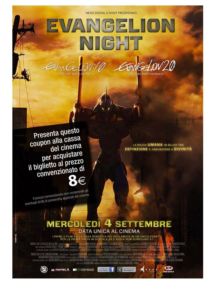 coupon sconto evangelion night 8 euro